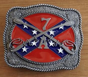 """Buckle / gesp  """" Rebel vlag met zwaarden 7A """""""