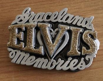 """Elvis buckle  """" Graceland Elvis memories """" Goud glitter"""