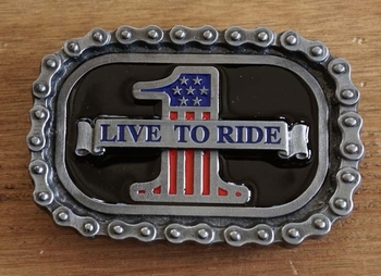 """Buckle / gesp  """" Live to ride 1 """""""