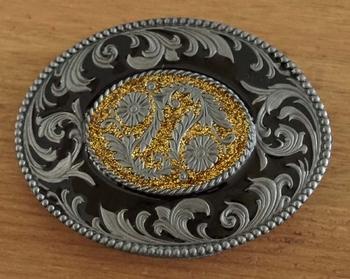 """Belt buckle  """" Siermotief met bloemen """" zwart / glitter goud"""