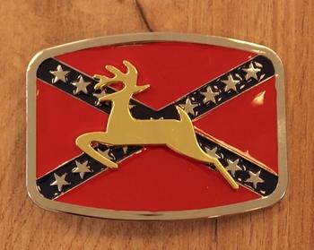 "Buckle / gesp  "" Rebel vlag met hert """