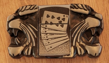 """Aansteker buckle """"  Pokerhand + leeuwenkoppen """""""