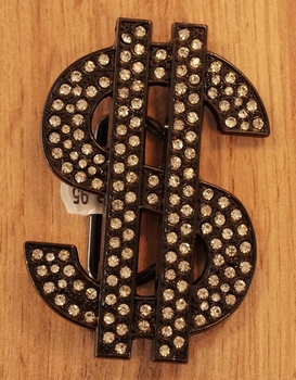 """Buckle / gesp  """" Dollar teken """"  zwart glitter"""