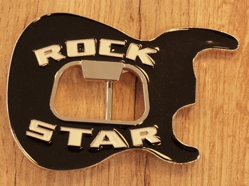 """Buckle """" Rock star, body gitaar """"  zwart"""