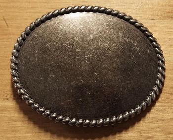 """Blank buckle  """" Ovaal met touwmotief """" oud zilver"""