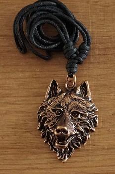 """Bronzen ketting  """" Keltische wolvenkop """""""