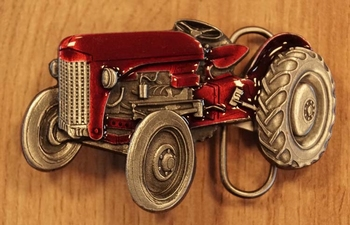 "Buckle "" Tractor "" rood / nikkel kleurig"
