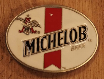 "Buckle  "" Michelob beer "" wit / rood"