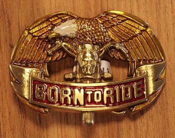 """Buckle  """" Born to ride """"  Adelaar"""