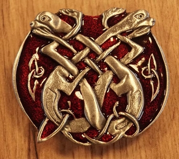 "Buckle / gesp  "" 2 Celtic dogs ""  rood"