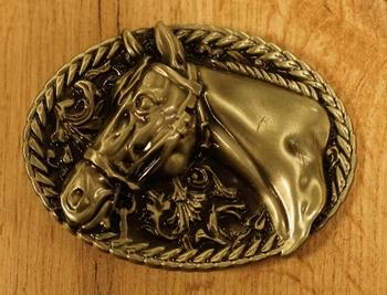 """Western gesp  """" Paarden hoofden """"   Zilver- / goud kleurig"""