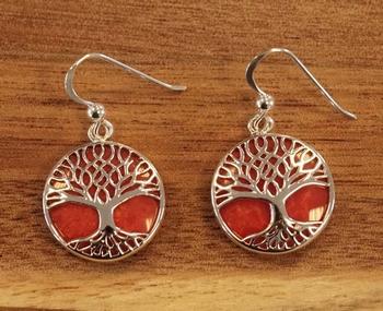 """Oorhangers  """" Tree of life """"  rode steen"""