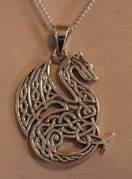 """Zilveren hanger  """" Keltische draak  """""""