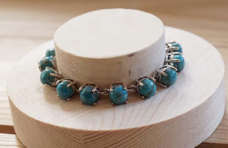 "925 zilveren armband "" 11 Turquoise stenen """