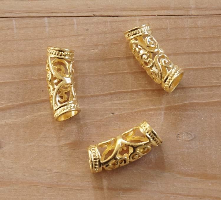 """Baardkralen  """" Keltische sierwerk """" goudkleurig  12 stuks"""