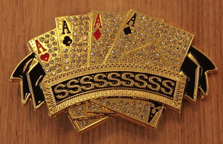 "Belt buckle  "" 4 azen poker kaarten ""  goudkleurig / glitter"