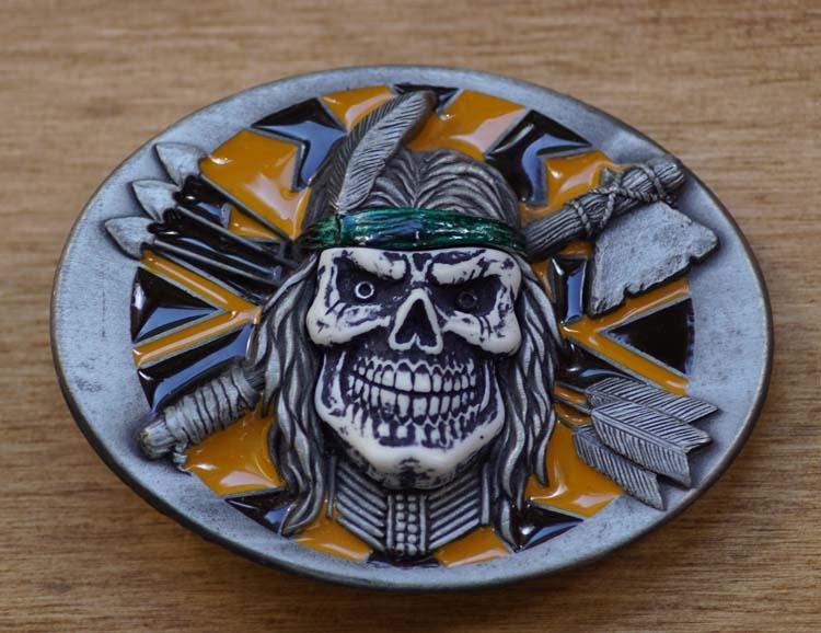 """Belt buckle  """" Doodshoofd indiaan pijlen tomahawk """""""