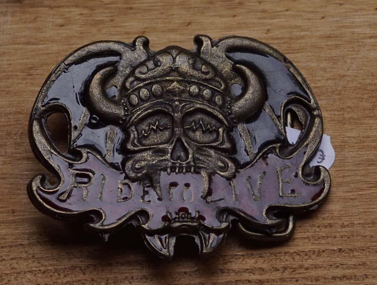 """Belt buckle  """" Ride to live """"  Viking skull motorbril"""