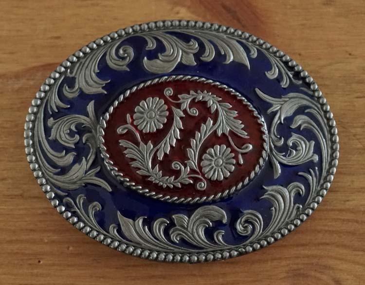 """Belt buckle  """" Siermotief met bloemen """"  blauw"""