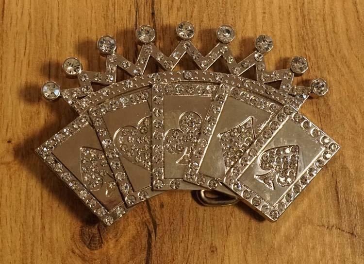 """Belt buckle """" Assen met kroon """" zilverkleurig / strass"""
