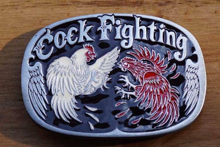 "Belt buckle "" Cock fighting ""  Hanen gevecht"