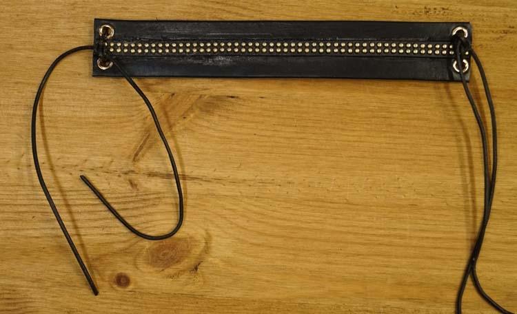 "Brede leren armband met veter vast maken "" Sierband "" Zwart"