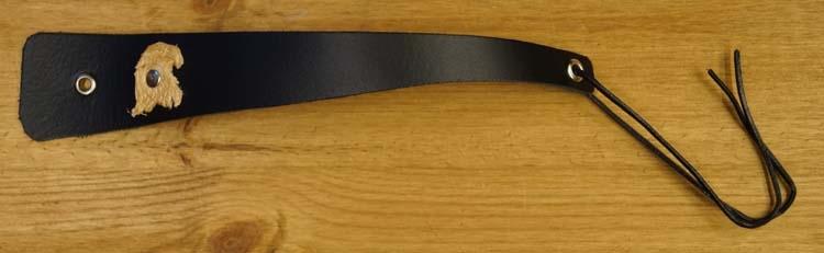 """Brede schuine leren armband met veter vast """"Adelaar """" Zwart"""