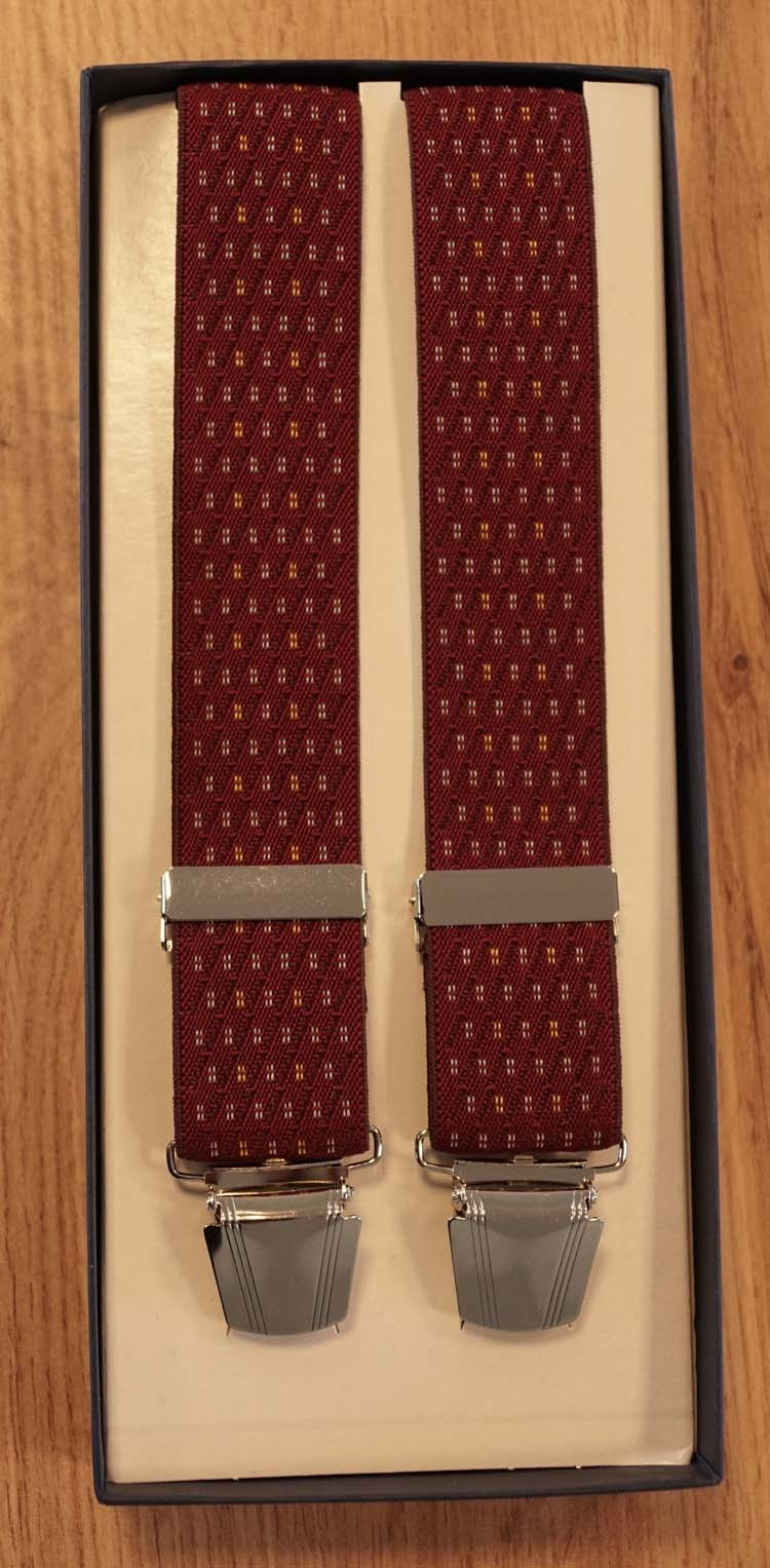 "Bretels 4-clips  "" Figuur "" rood / creme"