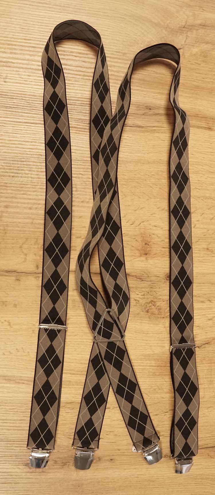 "Bretels 4-clips  "" Geruit "" beige / zwart"