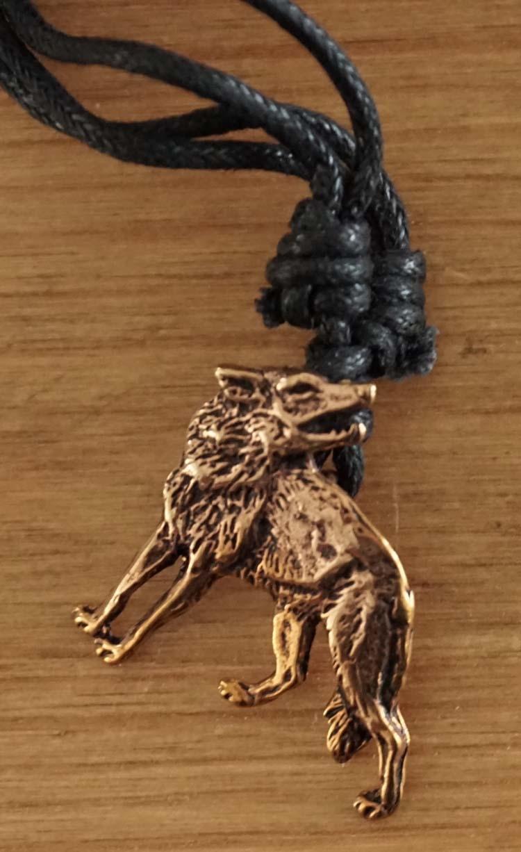 """Bronzen ketting  """" Keltische wolf """"  v"""