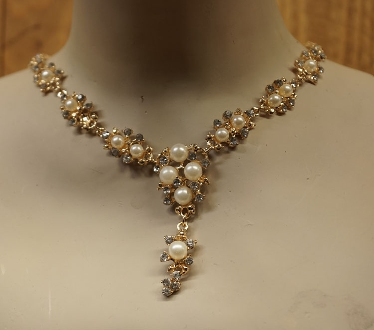 "bruids ketting "" Nepparels en diamanten """