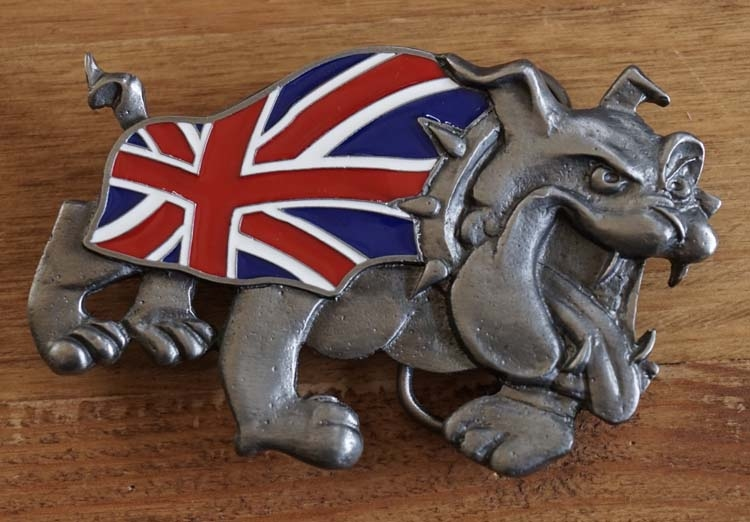 "Buckle  "" Bulldog met Britse Vlag """