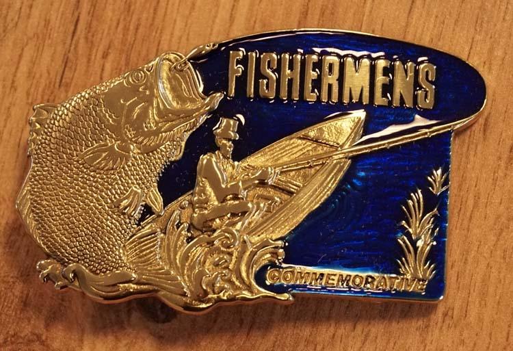 "Buckle  "" Fishermens ""  goudkleurig / blauw"