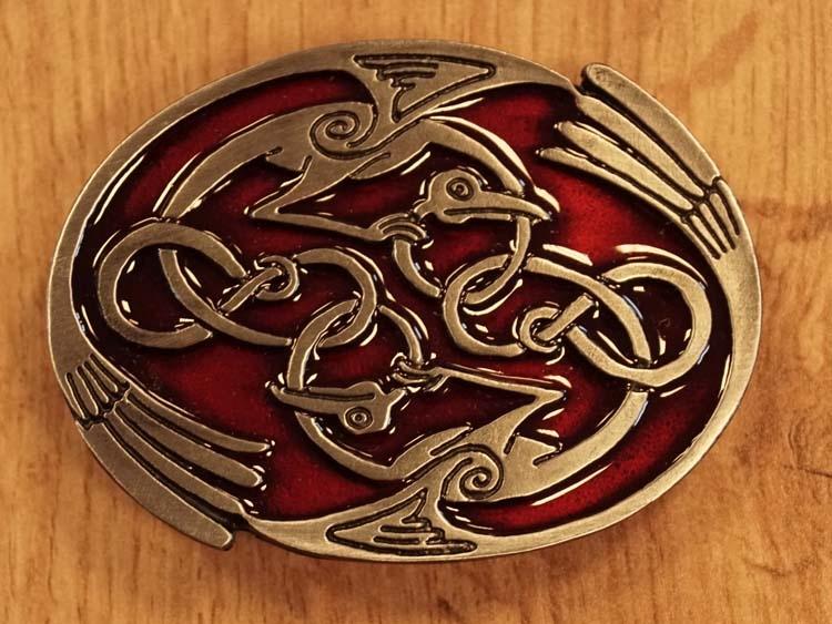 """Buckle  """" Keltische oneindige knoop met vogels """" rood"""