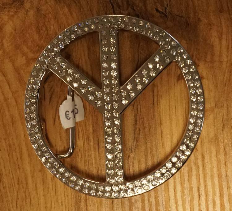 """Buckle  """" Peace teken """"   strass"""