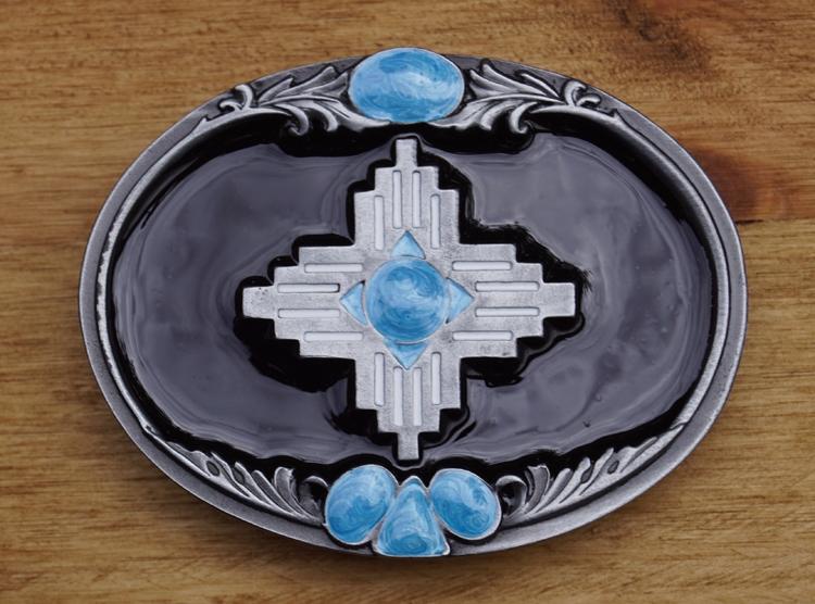 """Buckle """" Azteken design met turquoise """""""