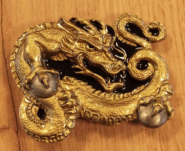 """Buckle / gesp  """" Celtic dragon """"   zwart / goudkleurig"""