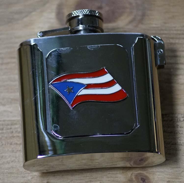 """Buckle / gesp  """" Heupfles met Puerto Rico vlag """""""