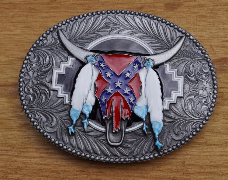"""Buckle / gesp """" Longhorn rebel vlag """""""