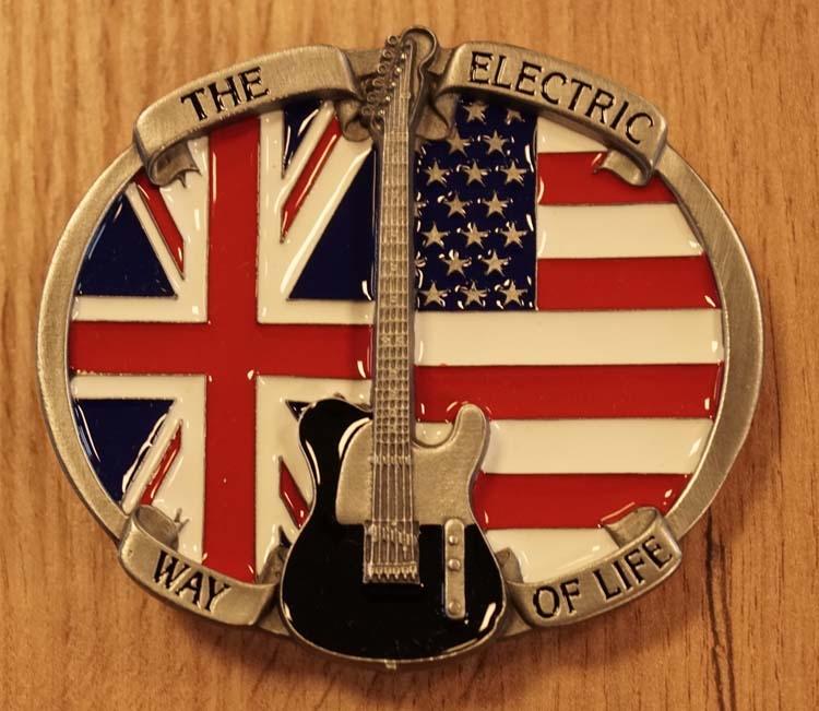 """Buckle """" The electric way of life """" Gitaar op Britische vlag"""