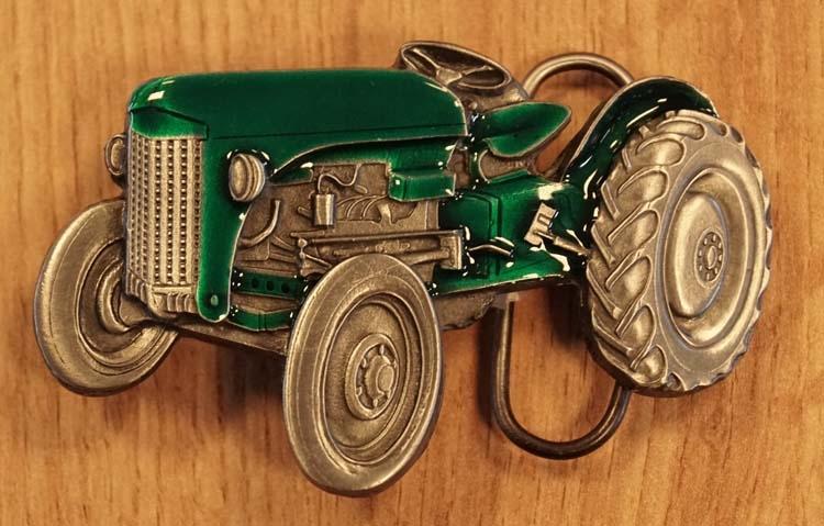 """Buckle """" Tractor """" groen / nikkel kleurig"""