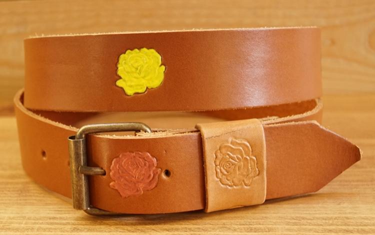 """Buckle riem """"  Gekleurde bloemen """"  Bruin / beige"""