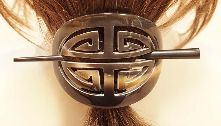 """Hoorn haarspeld + haarstokje """" 4-delige knoop """" bruin/beige"""