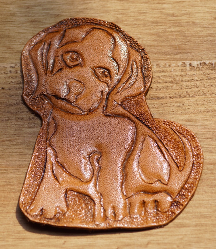 "Lederen applicatie  "" Hond ""  Tan"