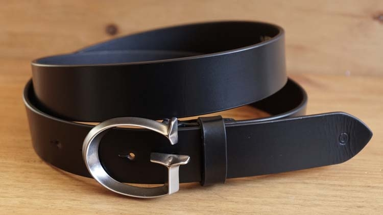 "Leren jeans riem  "" Vittozzi  614 zwart  ""  3,5 cm breed"
