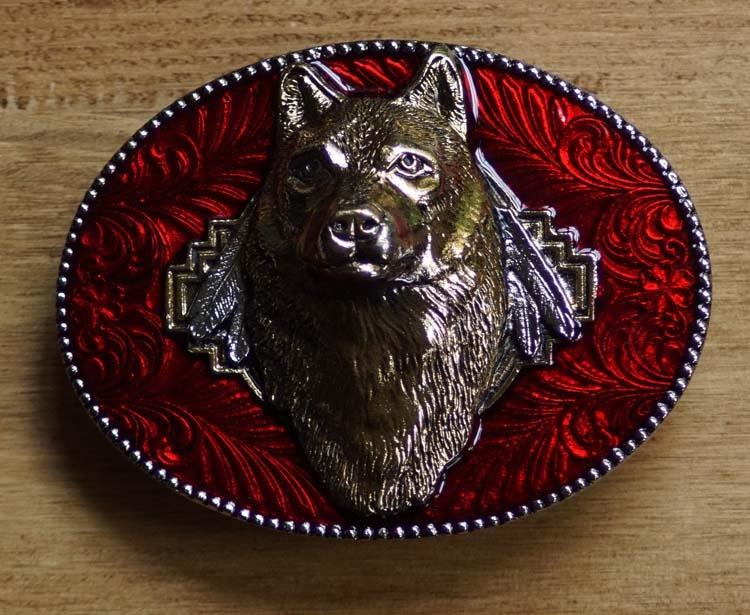 """Western gesp  """" Wolf kop """"  Rood / goudkleurig"""