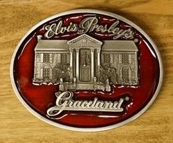 """Elvis buckle  """" Elvis Presley   Graceland """" Rood"""