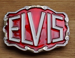 "Elvis buckle  "" Elvis ""  Rood / wit"