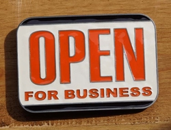 "Tekst buckle gesp  "" Open for business """