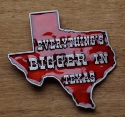 """Humor gesp  """" Everthing's Bigger .."""" Als is groter in Texas"""